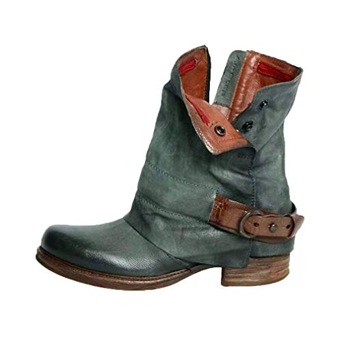 Leder Stiefe für Damen Retro Blockabsatz Stiefeletten Frauen Bequeme Schuhe mit Rutschfester Sohle Mode Herbst Winter Casual Boots Schuhe Stiefel