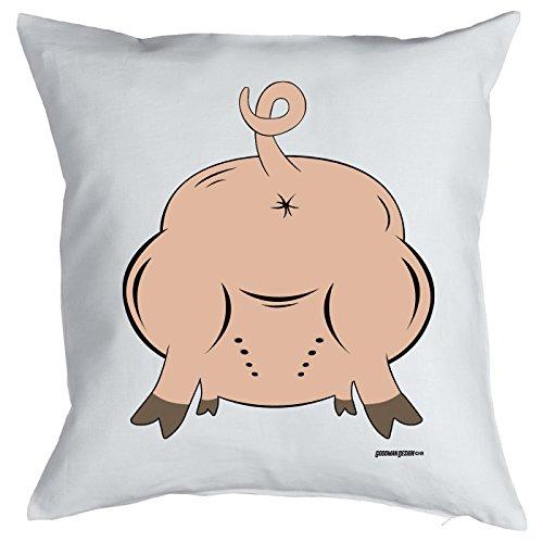 Goodman Design  Kissenbezug mit lustigem Motiv - Schwein, Schweinehintern - Coole Geschenkidee - Geburtstag - Party-Gag