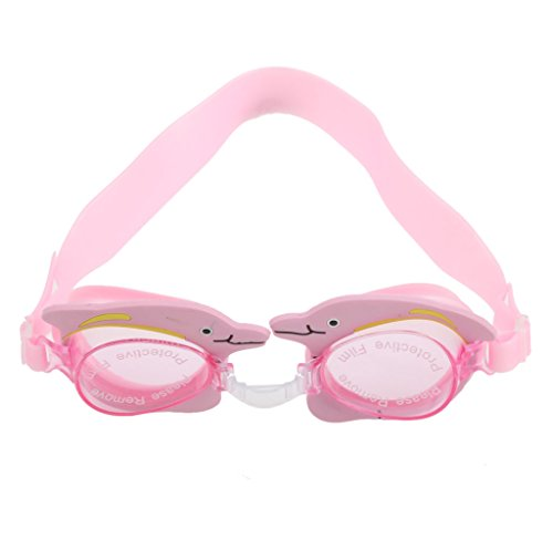 Children Kids Boys Girls Anti-fog Swimming Goggle Glasses w/ Dolphin Decor Water Sports Pool Beach Eye Protection - Pink