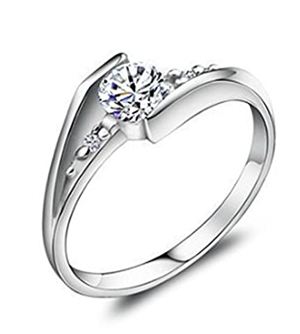 SaySure - 925 Sterling Silver Stone Women Wedding Ring (SIZE : 5)