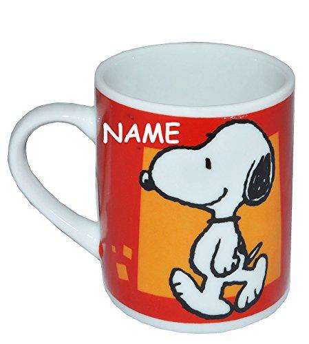 Unbekannt Espressotasse klein - Snoopy Peanuts - Porzellan / Keramik - incl. Name - Trinktasse mit Henkel Tasse / Becher Porzellantasse - Espresso - Tassen für Kinder M..