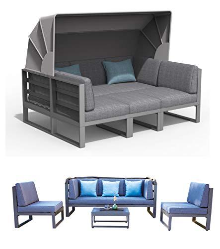 Haberkorn-Garten ALU Lounge Set Besimi Liege Sitzgruppe Bank mit Dach total flexibel - Möbel Liegen