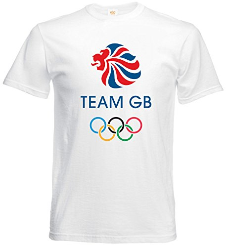 Team GB Olympic Sports Party Day Great Britain British Mens T shirt- White Mens Tee