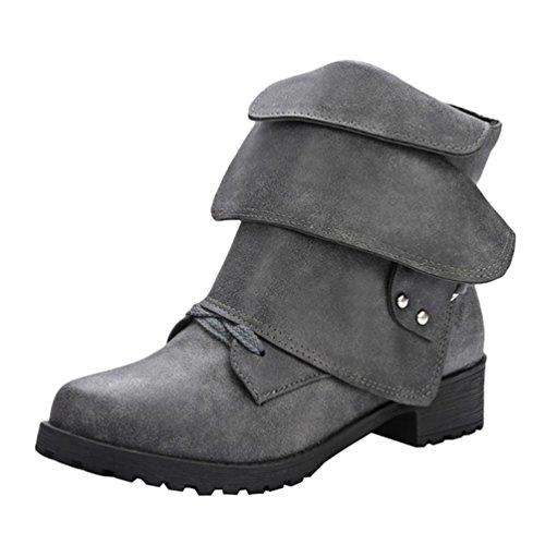 Yiiquan Donna Retro Martin Stivali Invernali Snow Boots Cavaliere Stivaletti Grande Codice Nero