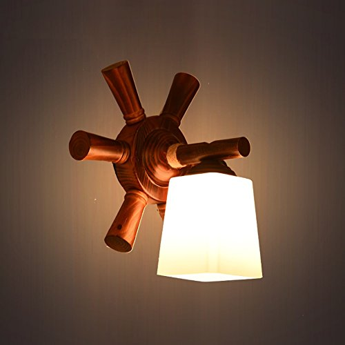 C&L Rétro Applique, Bois Rudder Applique Créative Allée Lumières Chambre Bar Restaurant Cafe Club Applique E27 ( taille : 36*45cm )