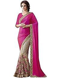 Celeb Styles Women's Chiffon Saree With Banglori Silk Blouse (Csmgnt93075_Pink & Beige)