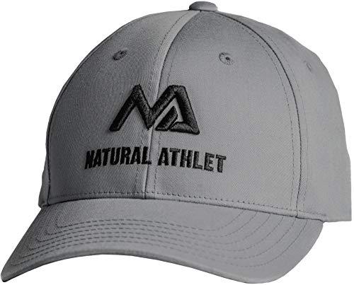 Natural Athlet Herren Basecap - Sport Snapback Cap in grau - Männer Freizeit Kappe verstellbar für Fitness, Sport, Gym & Training