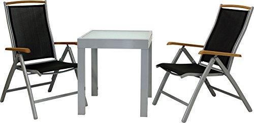 IB-Style - DIPLOMAT-Quadro S | salon de Jardin | 5 Variantes | Alu noir ou argenté / Textile / bois teck | Table à rallonge | Meuble de jardin Table Chaises | 65 - 130 cm | Meuble de jardin - table avec 2 chaises pliable argenté