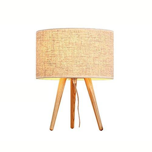Nachttischlampe einfache Schreibtischlampe Stativ Tischlampe Holzlampe Leinen Stoff Schatten (Natürliche Stile Noni)