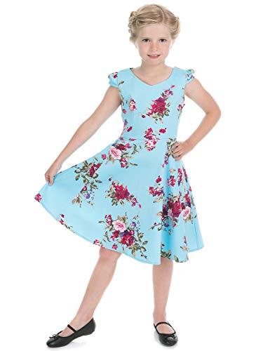 Hearts & Roses London Mädchen 50er Jahre Kleid The Royal Ballet Tea Dress (Blau, 104/4 Jahre) -