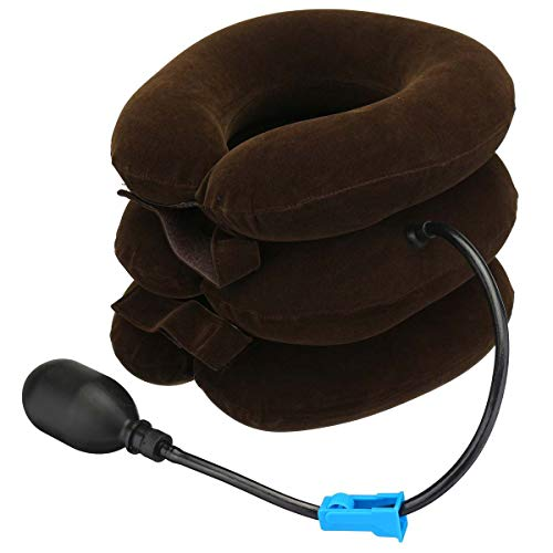 HEEGNPD Aufblasbare Halskragen Hals Relief Traktion Traktor Unterstützung Massage Kissen Kissen Entspannung Gesundheitswesen Universal,Brown