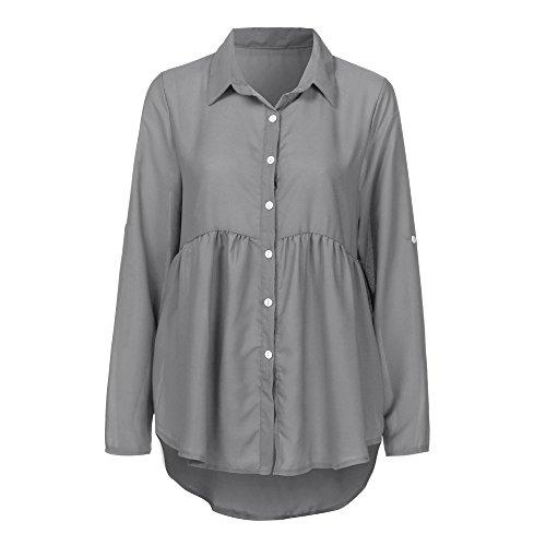OSYARD Damen Sweatshirt,Oberseiten,Pullover, Frauen Hemd Oberteile Große Größe Umlegekragen Langarm Pulli Kleidung Falten Chiffon Lose Tops T-Shirt Bluse(4XL, Grau)