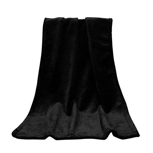 Hukz Einfarbige Elegante Decke,50X70 cm Mode Solide Weiche Werfen Kinder Decke Warme Korallen Plaid Decken Flanell,Dauerhafte Wärme in Kalten Nächten (Schwarz) -
