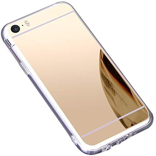 Kompatibel mit iPhone 5S /SE 5 Hülle, Ultradünnen Spiegel Hülle Mirror Case Weiche Schutzhülle Handyhülle Tasche Cover Silikon Schutzhülle Glänzend Slim Handy Gehäuse Hülle,Champagner EINWEG - Einweg-gehäuse
