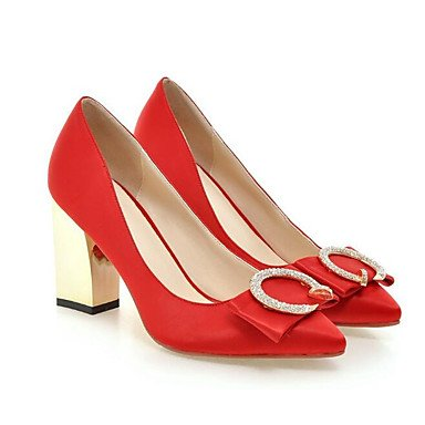 Sanmulyh Femmes Chaussures Printemps Automne Pompe Base Confort Talons Chunky Talon Pour Casual Bleu Rouge Noir Pêches Rouge