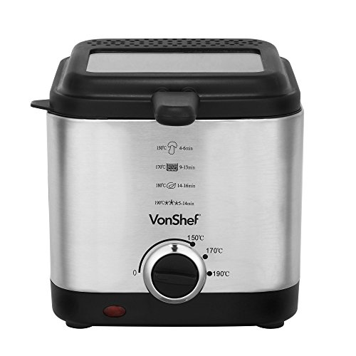 41RgJ7ehJkL. SS500  - VonShef Deep Fat Fryer, 1.5 Litre with Adjustable Temperature Control, Observation Window and Removable Basket for Easy Clean – Stainless Steel