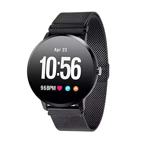 WETERS Fitness Tracker Aktivität Tracker Uhr Pulsmesser Wasserdicht 1,3 Farbe Bildschirm Schritt Informationen Bluetooth Sport Armband,Blacksteel