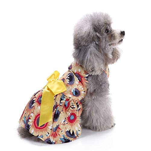 Jamisonme Hund Kleider für Kleine mittlere große Hunde Mädchen Sommer Hund Rock Lady Hund Kleid Floral Rock Hund Prinzessin Bogen Kleid von Sommer ()