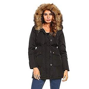 Oasics Winterjacke Damenuniform mit Kapuze, warme Winterjacke mit langem Mantel S-XL