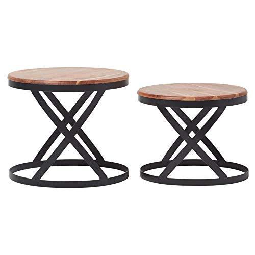 Homescapes Barrel Soho Beistelltisch 2er Set rund, braun, Vintage Couchtisch aus Akazie Massiv-Holz und Metallgestell, Nest von Tischen im Industrie Design, Handgefertigt Nachttisch, H45 x B53cm -