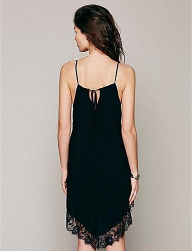 PU&PU Robe Aux femmes Ample Sexy / Street Chic,Couleur Pleine A Bretelles Asymétrique Polyester BLACK-S