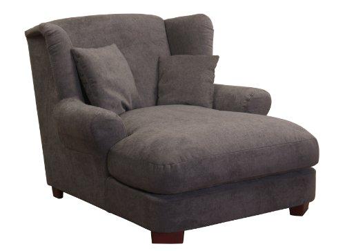 XXL-Sessel / Dunkelgrauer Polstersessel mit Massivholzfüßen, großer Sitzfläche, Polsterung und 2 weichen Zierkissen / 120x99x145 (BxHxT)