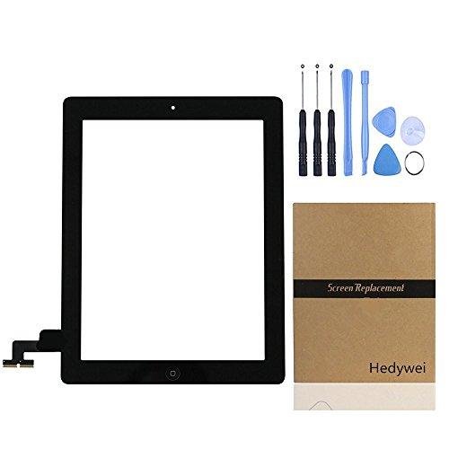 Per iPad 2 Touch Screen digitalizzatore pannello frontale di riparazione con pulsante Home, strumenti e adesivo nero
