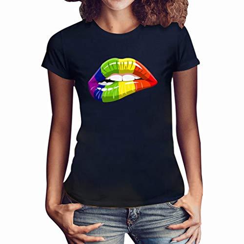 Frauen Kurzarm T-Shirt,T-Shirt mit Lippenprint Lässiges T-Shirt mit Rundhalsausschnitt Plus Size Lips Print Shirt Kurzarm T-Shirt Bluse Tops Buntes Muster -