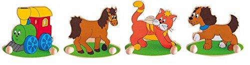 4 Stück GARDEROBE Set KINDER jeweils 2 KLEIDERHAKEN Tiere Hund Pferd
