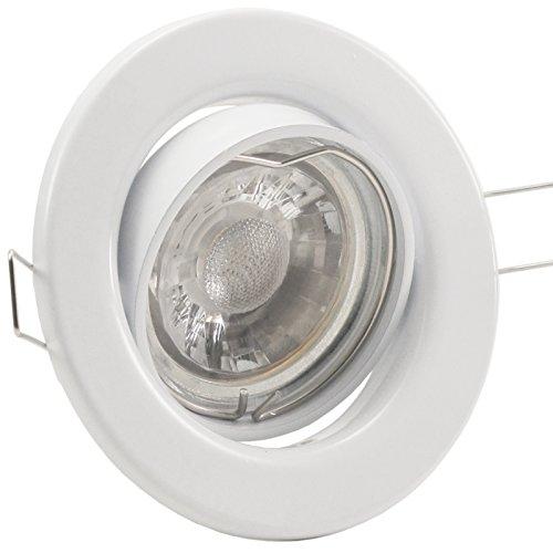 25er Set (10-25er Sets) Einbaustrahler DECORA; 230V; COB LED 3W = 40W; Kalt-Weiß; WEISS; schwenkbar, Leuchtmittel austauschbar; Einbauleuchte Einbauspot Downlight -
