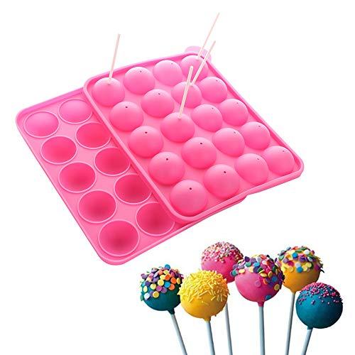 Unbekannt Silikonform für Lutscher mit 20 Löchern, für Lollipop-Partys, Cupcakes, mit Stiften für Lutscher, BPA-frei, lebensmittelecht, Nicht klebend, Pink