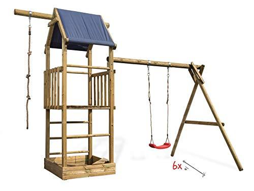 Spielturm Alex 1 Kletterturm mit Planendach, Schaukel, Sandkasten und Kletterseil.Rutsche sowie Bodenanker Optional., Sicherheit wählen:6x Bodenanker, Rutsche wählen:ohne Rutsche