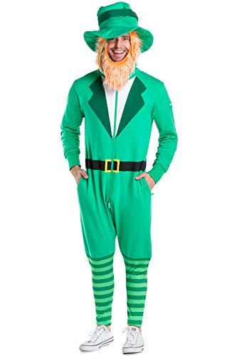 Tipsy Elves Leprechaun Kostüm für St. Patrick's Day - Leprechaun Jumpsuit Kostüm Unisex - grün - Small (Paddy's Day Kostüm)