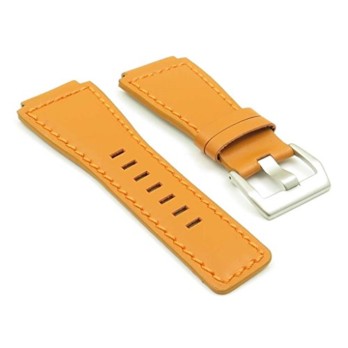 strapsco orange Echt leder watch band für Bell & Ross Größe 24mm