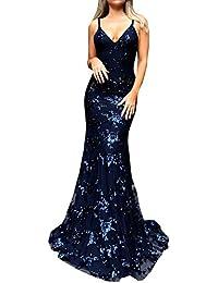 577b85bbdb47 Estivo Eleganti Maxi Vestiti di Sirena Donne Sexy Scollo V profondità Pin  Up Senza Schienale Vestito Moda Paillettes Bodycon Abiti da…