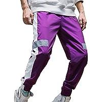 Hombres Rayas Reflectantes Harem Pantalones Contraste De Color Estilo Hip-Hop Pantalones Deportivos Holgados Confortables Ferrocarril Ciclismo En Carretera Carretera Pantalones A Prueba De Viento