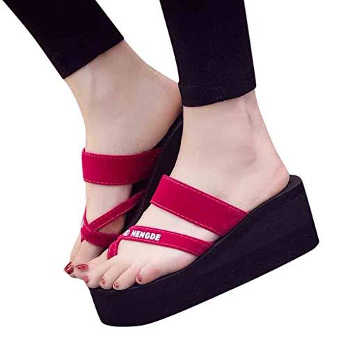 iYmitz Keilabsatz Hausschuhe Sommer Frauen Sandalen Rutschfeste Flip Flops Slipper Flache Strand Outdoorschuhe Schuhe für Damen Mädchen(Hot Pink,EU-35/CN-35)