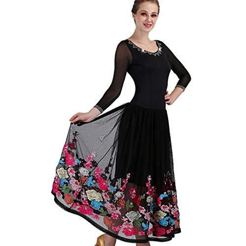 ard Gesellschaftstanz Wettbewerb Kleider Single Sleeve Royal Court Stickerei Tanz Kostüme Für Frauen Tango Walzer Kleider Modern Dance Kleid (Color : Black, Size : S) ()