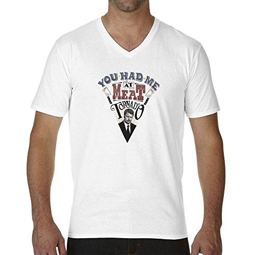 ron-swanson-meat-tornado-pizza-parks-and-recreation-bianca-t-shirt-maglietta-collo-a-v-per-uomo-xx-l