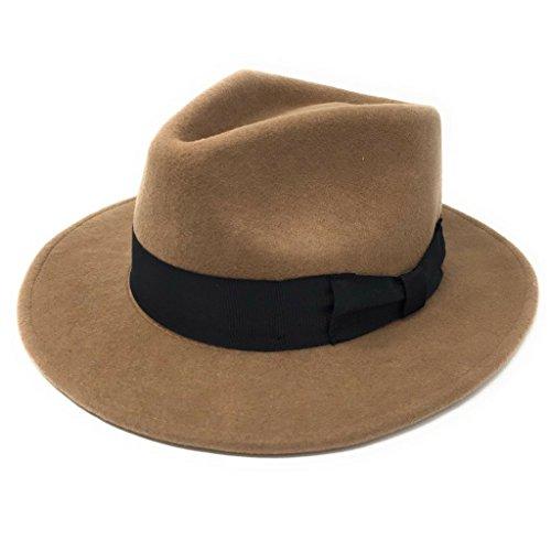 Herren Handgefertigt 100% Wollfilz Indiana Style Knautschfähig Fedora Hut - Kamel, Large - 59cm