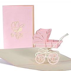 Idea Regalo - Biglietti auguri baby shower pop up bambina, biglietti invito baby shower 3d per bimba, cartolina nascita neonata con carrozzina, G13.3