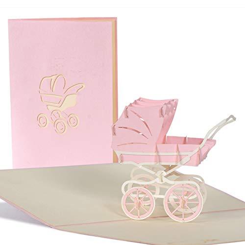 Pop Up Karte mit rosa Kinderwagen aus Papier, Glueckwunschkarte zur Geburt von Maedchen, Baby Dusche G 13.3