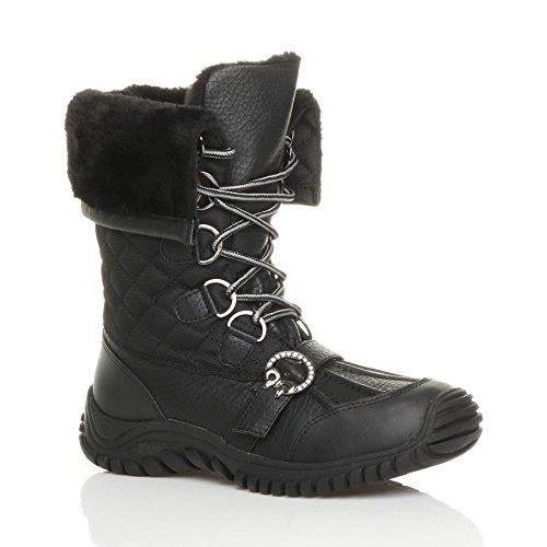 Donna basso inverno neve stringhe pelliccia stivali polpaccio caviglia taglia Nero trapuntata