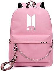 Korean Fashion BTS Bangtan Boys Letter Backpack LOVE YOURSELF USB Charging Travel Bag for Teenager Girls Ribbon Chains Schoo
