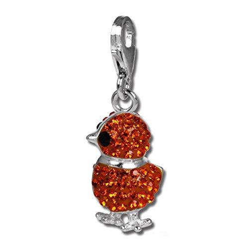SilberDream Glitzer Charm Küken orange Zirkonia Kristalle Anhänger 925 Silber für Bettelarmbänder Kette Ohrring GSC522O