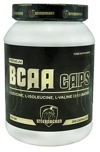 STIERNACKEN - BCAA Kapseln   essentielle Aminosäuren   BCAA's - verzweigtkettige Aminosäuren   L-Leucin, L-Valin, L-Isoleucin im Verhältnis 2:1:1, hochdosiert   1000 mg pro Kapsel   200 Stück