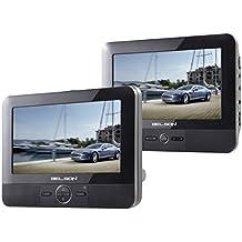 """Belson DUAL-81 - Sistema multimedia DVD / USB / SD con pantalla LCD TFT de 7"""" + segundo monitor de 7"""", negro"""