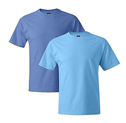 Hanes Mens 5180 Short Sleeve Beefy T 1 Aquatic Blue / 1 Carolina Blue