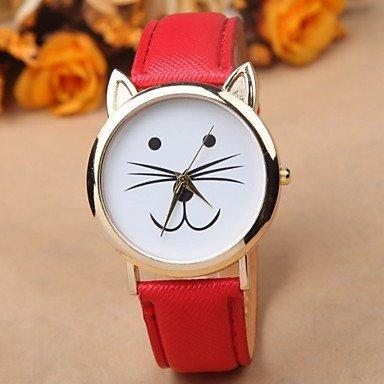 Fenkoo Kitty Montre pour femme, motif chat, montre-bracelet en cuir, Bijou, Accessoire, Rot