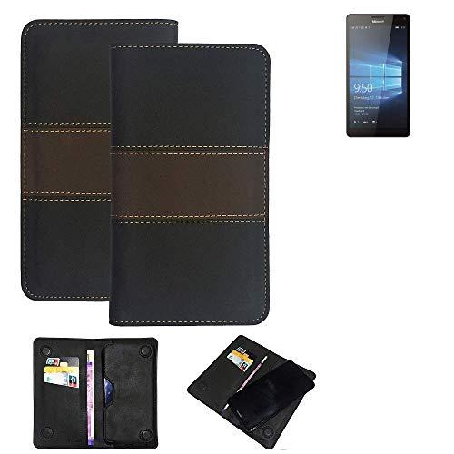 K-S-Trade® Handy Hülle Für Microsoft Lumia 950 XL Dual SIM Schutzhülle Walletcase Bookstyle Tasche Schutz Case Handytasche Wallet Cover Kunstleder Snapcase Dunkelbraun, 1x